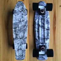 Wholesale Hot selling Jeans Graphic Printed Mini Cruiser Plastic Skateboard quot X quot Retro Longboard Skate Long Board