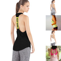 Wholesale Womens Sports Gym Slim Running Stretch Workout Sleeveless Backless Vest Tank T Shirt Fitness Jogging Yoga Singlet Top Blouse