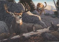 animal mountain lion - Ambush By Tom Mansanarez Mule Deer Mountain Lion Pure Handpainted Animal Art Oil Painting On Canvas customized size accepted skeb