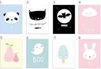 One Panel baby room wall painting - Kawaii Lovely Animal Poster Print No Frame Modern Nordic Cartoon Nursery Giclee Wall Art Picture Kids Baby Room Decor Canvas Painting