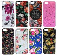 Others Others Others Wholesale-For iphone 5C Cover Case 2015 Hot Bright Eye-catching Fashion Flowers Painted Custom Skin Hard Plastic Protective Phone Cases