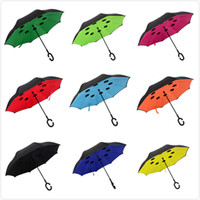 Wholesale Inverted Umbrella Double Layer Reverse Design Upside Down Umbrella Windproof With C handle or J handle color