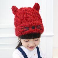 Wholesale Kitten knitting children hat autumn and winter paragraph wool cap baby cute plus velvet hat sweet girl winter hat