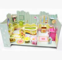 bathroom designer paper - 2016 Sale D three dimensional puzzle bathroom paper model Designers toys for children brinquedos kids educativo