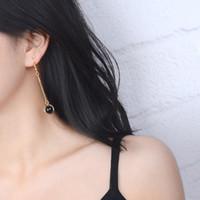 Wholesale Handmade personality Korean retro black agate pendant earrings ear wire earrings earrings products in Europe and the female