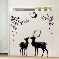 animal cam - Christmas deers wall stickers cam remove midnight fawn silhouette PVC waterproof wallpaper Household bathroom porch home decoration