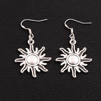 Dangle & Chandelier american sun - 40pairs Antique Silver Sun Earrings Silver Fish Ear Hook Chandelier E212 x24 mm