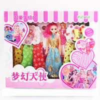 Wholesale Children girls doll toys wedding package gift section to send four skirts a pair of boots simulation Princess