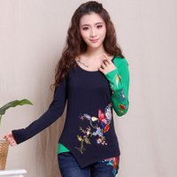 bell mexico - Vintage s ethnic long sleeve dark blue green patchwork t shirt for women pullover Mexico style designer embroidery t shirt tee