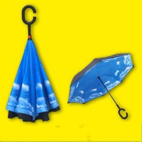 Wholesale Umbrella Creative Double Layer Reverse Advertising Car Hands Free Can Stand The Umbrellas Customizable LOGO Many Designs Choose fs