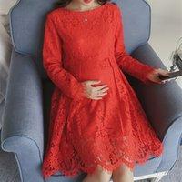 Wholesale Elegant Lace Maternity Dresses Slim Long Sleeved Women Party Summer Dress Maternity Clothes M XL Size
