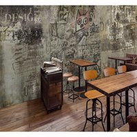 Бесплатная доставка 3D стерео пользовательских Lounge Bar KTV Кафе отеля обои фона Ретро кирпичной стены окрашены граффити Mural стола
