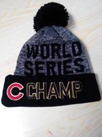 Wholesale 2016 winter Baseballl Champs Beanies Pom sport Knit Hats C world Series Sports Cap Mix Order Top Quality Hat Winter Wool Hats Cubs Beanies