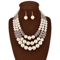 Wholesale Big Pearl Nigerian Wedding African Beads Jewelry Set multilayer statement long pearl choker necklace earrings set for women