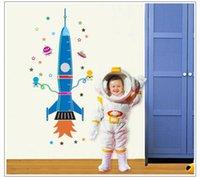 58 * 160CM Pegatina de pared de altura de cohete para sala de niños Medida de altura de carta de crecimiento para niños Decalques de pared de PVC extraíble ZYPA-9028