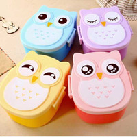 Wholesale Kawaii Candy Color Owl Lunch Box Microwave Oven Bento Container Case Dinnerware Children s Birthday Gift WA1440