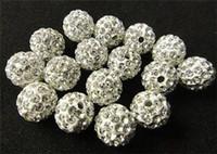 Cristales checo pulseras España-El nuevo micr3ofono blanco de Shamballa de la perforación cristalina de los granos flojos 10m m pavimenta el collar cristalino de la pulsera del grano de la bola del disco de la CZ rebordea ZA1559