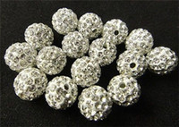 Wholesale New Loose Beads Crystal Drilling Ball Shamballa Czech mm White Micro Pave CZ Disco Ball Crystal Bead Bracelet Necklace Beads ZA1559