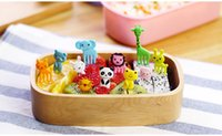 Wholesale 10pcs set Animal Farm mini cartoon fruit fork sign resin fruit toothpick bento lunch for children decorative plastic sign DHL Shipping Free