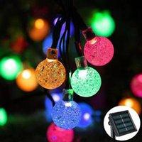 al por mayor ensartar cuentas navidad-30 LEDS burbuja bolas luces fiesta Xmas LED cuerdas luz de la lámpara solar llevó luces de Navidad luces solares de la secuencia impermeable 6M