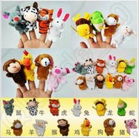 Wholesale Hot Sale Cute Lovely Animal Zoo Chinese Zodiac Set Soft Plush Finger Puppets Baby Kids Gift Toy CCA5552