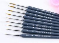 achat en gros de artiste peinture acrylique set-2017 9pcs / lot chaude a pointé les pinceaux de peinture principaux de cheveux de belette pour l'acrylique d'ombrage d'ombrage de gouache