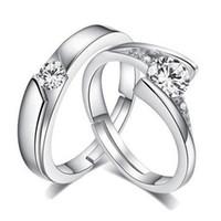 al por mayor par de anillos de circonia-La manera 925 plateó el anillo suizo de las vendas de los pares del diamante del anillo de la promoción de la joyería de los anillos de la promesa del amante de la venda de boda del Zirconia cúbico