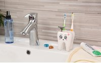 Wholesale Teeth Style Toothbrush Holder Hole Cartoon Toothbrush Stand Tooth Brush Shelf Bracket Container Bathroom Accessories Set