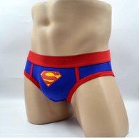 achat en gros de jeunes hommes sous-vêtements-Européenne et américaine mode classique bleu jeune homme sous-vêtements bas-taille coton bretelles Superman S marée sous-vêtements homme