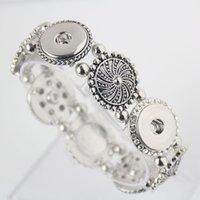 ancient carvings - 5PCS Ancient Silver Chrysanthemum Carving Button Snap Jewelry Bracelet Fit MM Alloy Ginger Snap Buttons Bracelet