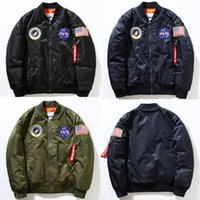 badge jacket - MA1 pilot jacket thin badge embroidery collar windbreaker trend male air jackets