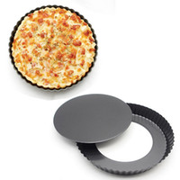 Wholesale Non Stick Inch cm High carbon Steel Quiche Pan Round cake mold Pizza Pan with Removable Bottom Baking Dish Tray