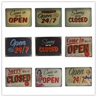 Wholesale Come in Open and Sorry Closed Vintage metal Tin signs painting Home cafe Pub Bar wall decor cm