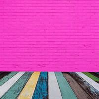 Пурпурная кирпичная стена фотосъемка Урожай нарисованный красочный деревянный настил Девочка фото фоны фоны 5x7ft