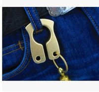 Wholesale 10MM thick brass key ring rolling copper copper hang EDC self defense ring brass knuckles