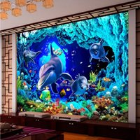 asia world - D Stereo Custom HD Underwater World Dolphin Cove TV Backdrop Living Room Wallpaper High Quality Mural