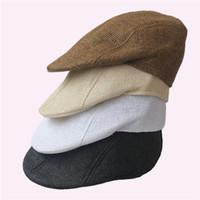 Bonnet cru France-Vente en gros-2014 nouveaux bérets vintage hommes de marque, femmes occasionnels beanies chapeau paille couleur unie été cool et confortable Livraison gratuite