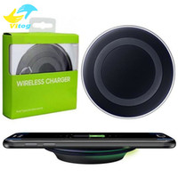 Wholesale 2016 Universal Qi Wireless Charger fast Charging For Samsung Note Galaxy S6 s7 Edge s8 plus mobile pad with package usb cable