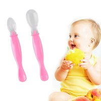 Wholesale New set Silicon Baby Spoon Safety soft Spoon Baby Flatware Feeding Spoon Tableware