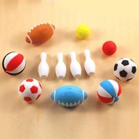 basketball stationery - Rugby Football Basketball Bowling Ball d Cute Cartoon Toy Eraser Student Stationery Set