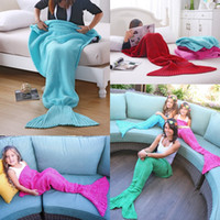 Wholesale Mermaid Blanket Yarn Knitted Handmade Crochet Family Pajama Xmas Kids Adult Baby Throw Bed Wrap Super Soft Sleeping Sofa Bed Colors CK1079