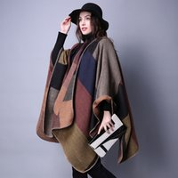 Wholesale Women s Winter Poncho Vintage Blanket Lady Knit Shawl Cape Cashmere Classic plaid style super thick warm scarf