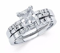 bague diamant princesse en or blanc 14k achat en gros de-1.45 CT Princess Cut Lab Diamond Engagement Bridal Ring Band Set 14k White Gold