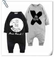 Wholesale Baby INS moon rompers Design Children ins letters No sleep Cotton Blends long sleeve style rompers kids clothes B