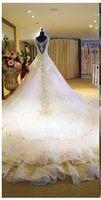 alibaba bridal gowns - Bling Bling BW001 White V Neck Crystal Shine Bridal Gown Long Cathedral Train Vestidos De Novia Alibaba Wedding Dress Retailer s
