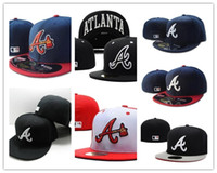Ball Cap base fit - 2017 Atlanta Braves Fitted Caps Embroidered A Letter Logo Baseball Cap Cool Base Full Closed Flat Brim Hip Hop Braves hats