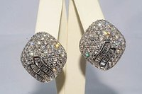 baguette diamond earrings - Ct Natural Baguette Round Diamond Cluster Earrings K WG