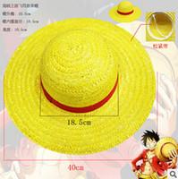 achat en gros de gros canotier-161151 Wholesale-NEW ONE PIECE LUFFY Anime Cosplay Hat Cap Paquet de paille set vente chaude nouvelle arrivée