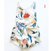 america and europe - Hug Me Baby Girls Jumpsuits Summer Fashion Sleeveless Print Tassels Cotton Romper Europe and America Lace Jumpsuits EC