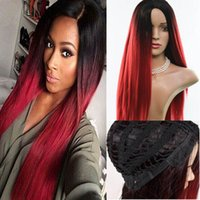 Wholesale Hot Full lace Wigs Fiber long straight luxury Synthetic Hair Wigs ombre High temperature resistant